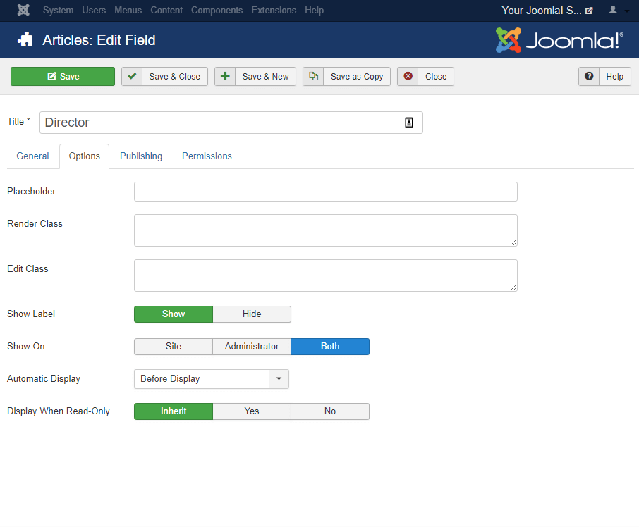 Joomla custom fields Options for a Custom Field