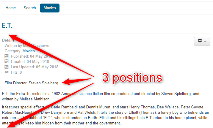 Positions of Joomla Custom Fields in frontend