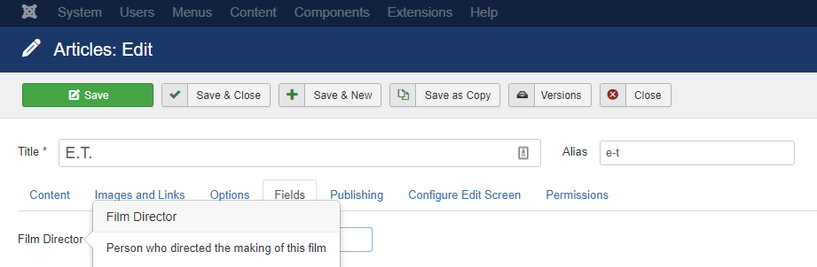 Joomla custom field tooltip